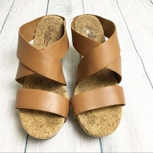 [Lucky Brand] Brown Strappy Cork Wedges